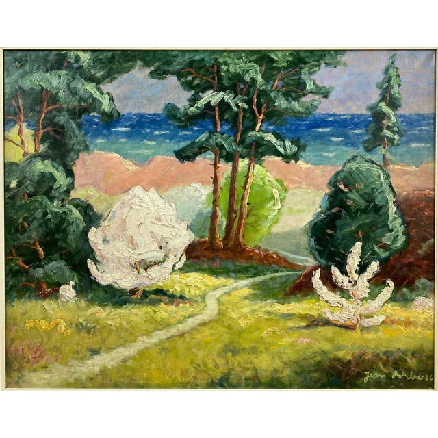 "Impressionist Jens Aabo ""Danish Coastal Pathway"", Impressionist Oil Painting, 1956 For Sale - Image 3 of 13"