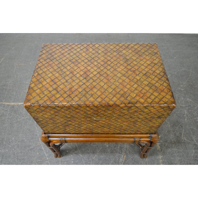Maitland Smith Woven Leather Lidded Chest on Rattan Base For Sale - Image 10 of 11