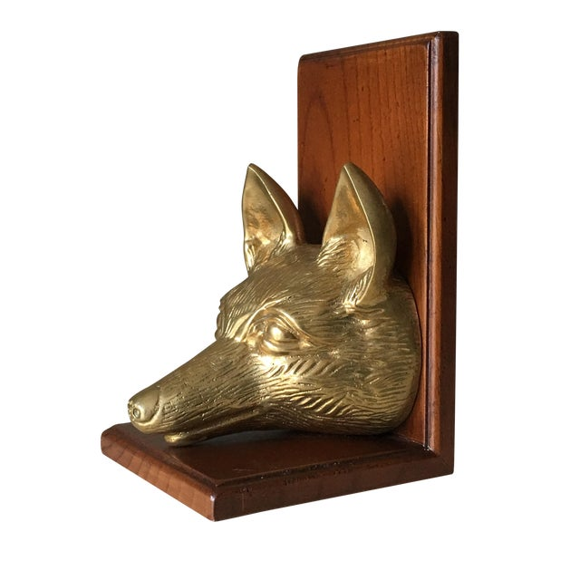 Vintage Fox Head Sculptural Brass & Wood Bookend - Image 1 of 6
