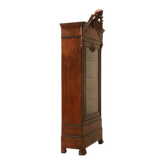 French Glazed Burled Walnut Cabinet
