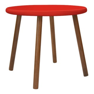 """Peewee Small Round 23.5"""" Kids Table in Walnut With Red Finish Accent For Sale"""