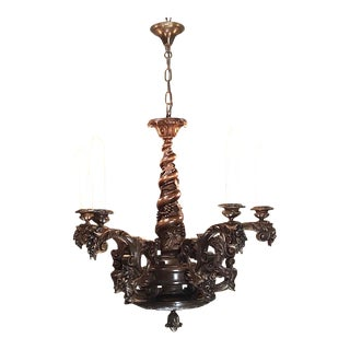 Antique Hand-Carved Walnut Italian Renaissance Chandelier For Sale