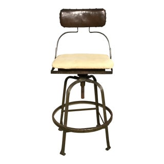Early 20th Century Antique American Industrial Machine Drafting Stool For Sale