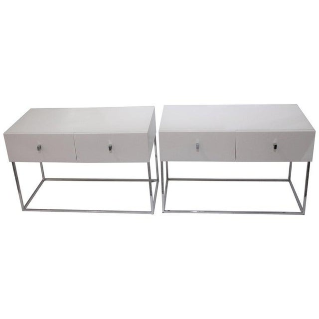 Bedside Tables Nightstands in White Lacquer by Rougier - a Pair For Sale - Image 13 of 13