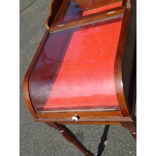 Vintage French Shadow Box End Side Table With Red Velvet Showcase Box