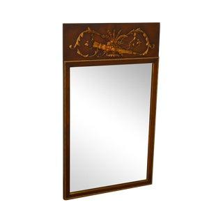French Louis XV Style Vintage Mahogany Partial Gilt Trumeau Mirror