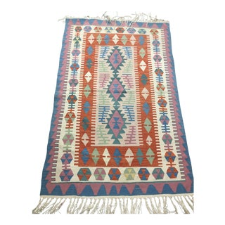 Contemporary Turkish Kilim Rug - 4′ × 6′2″ For Sale