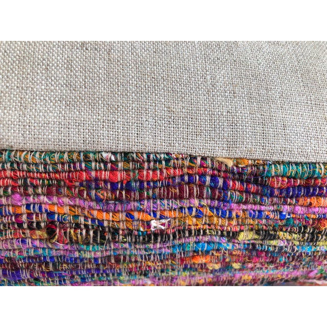 2010s Hand-Woven Silk and Linen Pillow For Sale - Image 5 of 9
