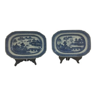 Small Antique Canton Platters - a Pair For Sale