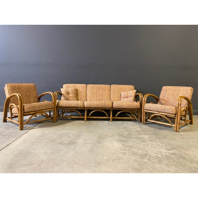 Vintage Paul Frankl Style Rattan Couch & Chairs For Sale - Image 10 of 10