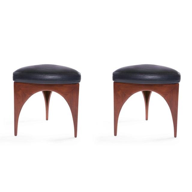 Animal Skin 1960s Allen Ditson Wood and Leather Ottomans - a Pair For Sale - Image 7 of 8