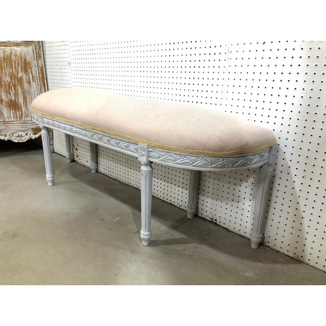 French Vintage French Louis XVI Demilune Long Bench For Sale - Image 3 of 4