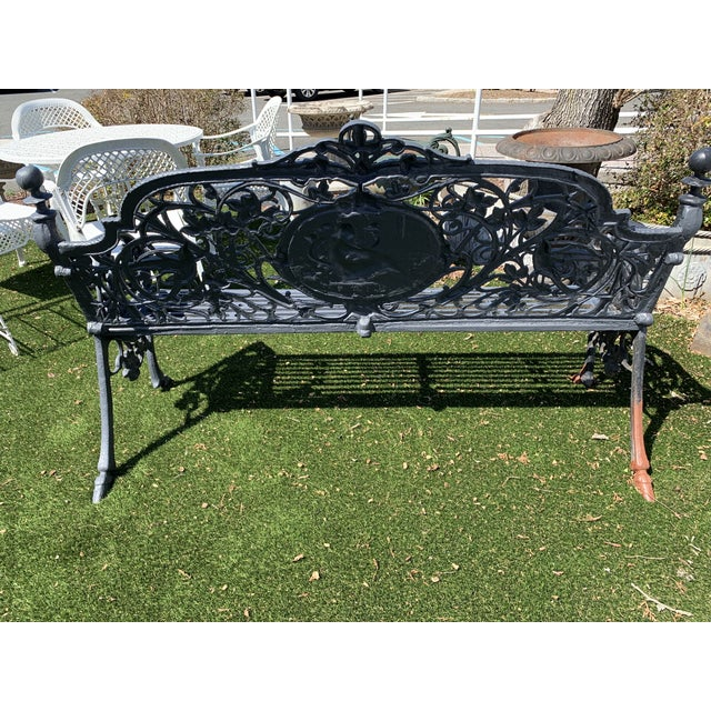 Antique French Black Iron Bench With Birds and Nymph For Sale - Image 11 of 13