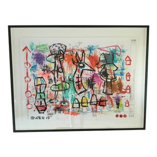 """Modern Abstract Gary John """"The Visitors"""" Painting For Sale"""