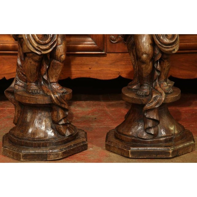 18th Century French Hand-Carved Walnut Jardinieres With Cherubs - A Pair For Sale - Image 5 of 9