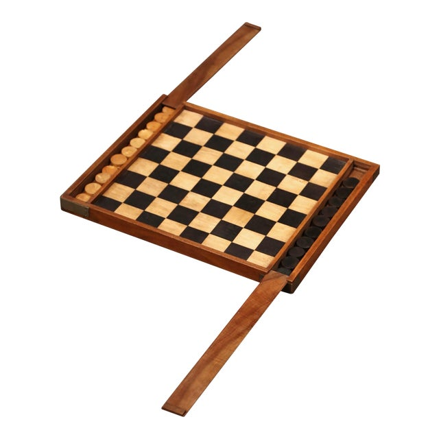 19th Century French Walnut Complete Checkers Board Game For Sale