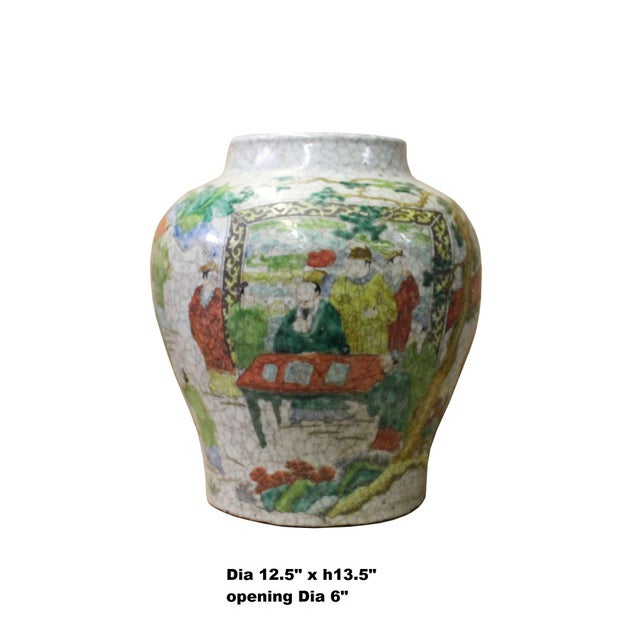 This is a handmade oriental ceramic pot in Gray white crackle base and multi-color graphics. The floral pattern and people...