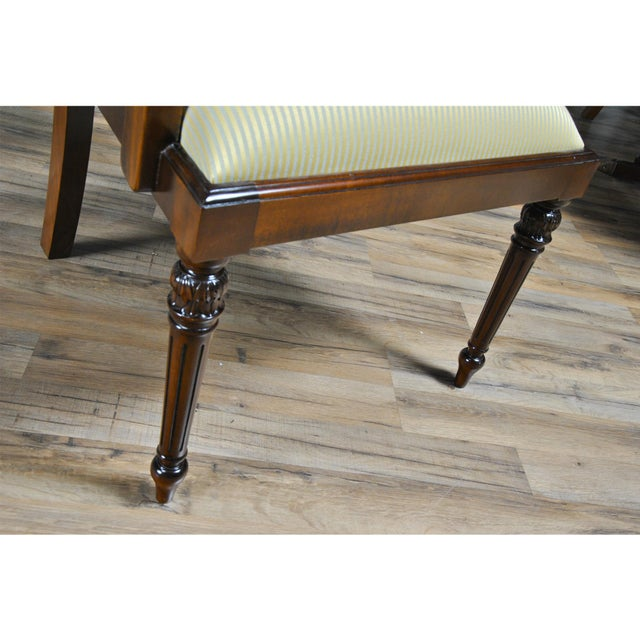 2010s Tall Back Upholstered Arm Chairs - Pair For Sale - Image 5 of 8