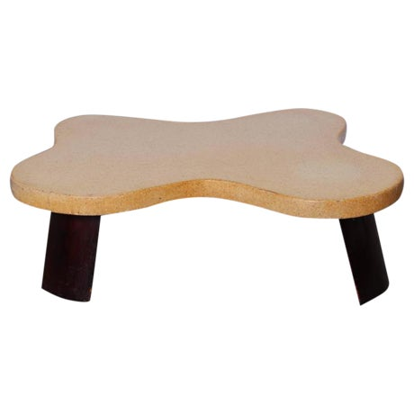 Amoeba Cork Top Coffee Table by Paul Frankl For Sale