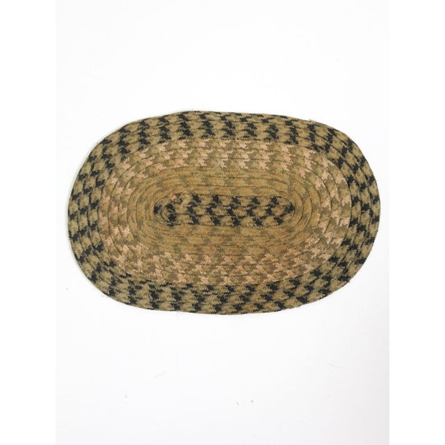 Textile Vintage Braided Accent Rug For Sale - Image 7 of 7