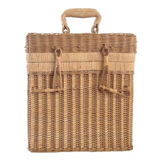 1980s Wicker Wine / Multi Purpose Basket For Sale