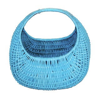 Vintage Aqua Wicker Garden Basket