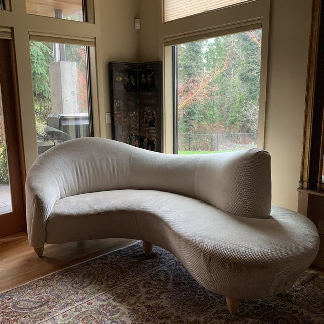 Beautiful sofa by Directional furniture. Original upholstery, dimensions are approximate due to sodas curved shape.