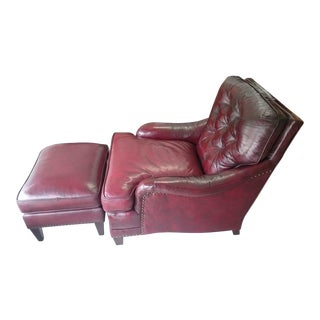 Mid-Century Tufted Leather Club Chair & Ottoman - a Pair For Sale