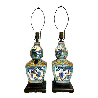 1930s Chinese Porcelain Lamps - a Pair For Sale