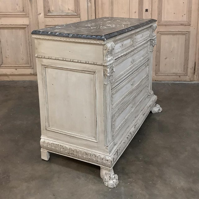 On this 19th Century Italian Neoclassical Painted Commode, we don't know what caught our eye first - the timeless hand-...