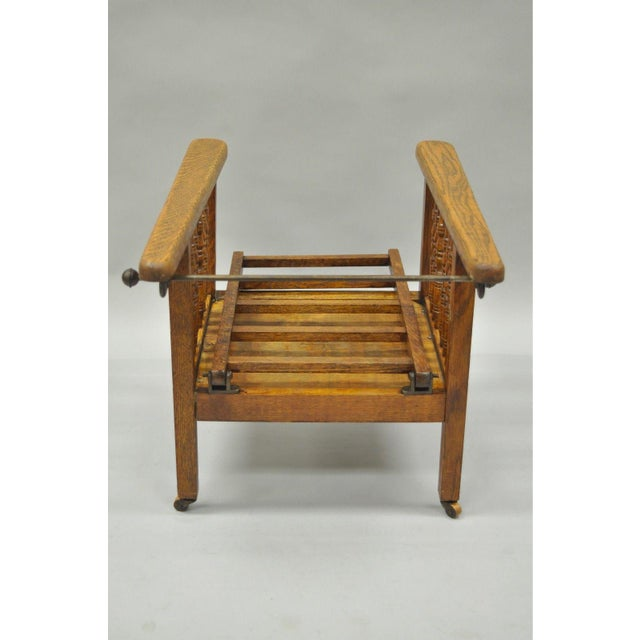 Small Antique Mission Oak Wood Childs Morris Reclining Lounge Arm Chair  Recliner - Image 6 of - Small Antique Mission Oak Wood Childs Morris Reclining Lounge Arm