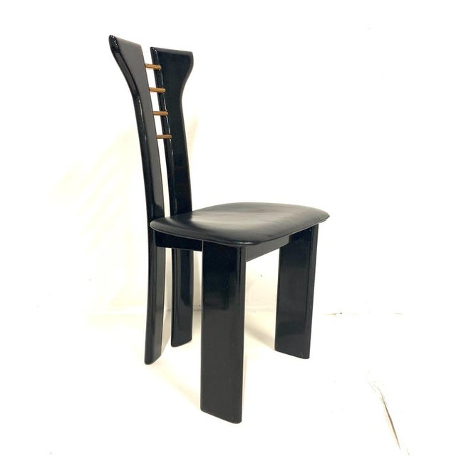 1970s 1970s Pierre Cardin Sculptural Black Lacquer Chairs With Leather Seats - Set of 4 For Sale - Image 5 of 10