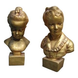 Vintage Mid Century Art Nouveau Statues Metallic Gold Busts - A Pair For Sale