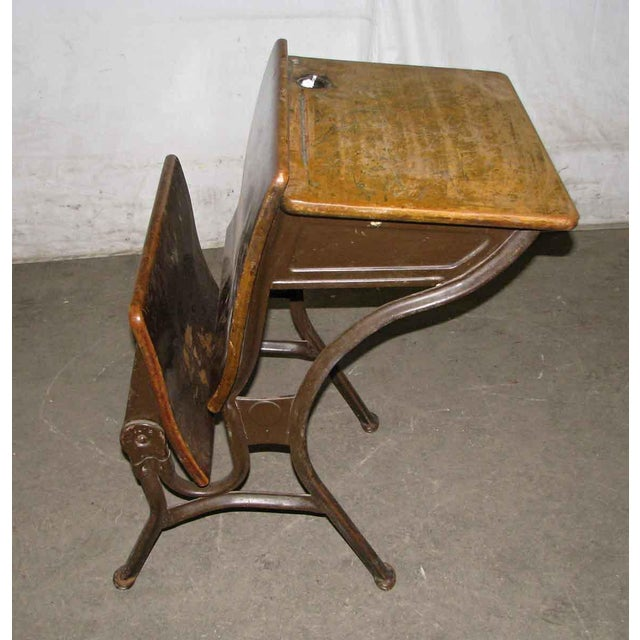 The American School Old School House Student Desk For Sale - Image 3 of 9