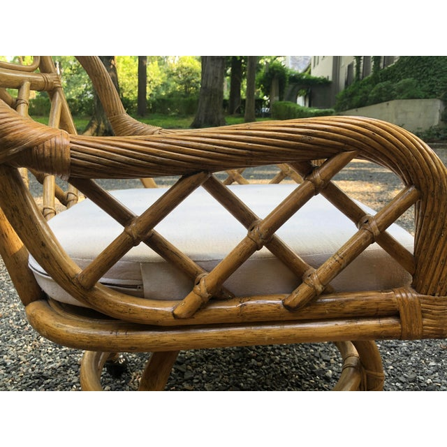 Mid-Century Franco Albini Style Rattan Swivel Dining Chairs - Set of 6 For Sale - Image 4 of 12