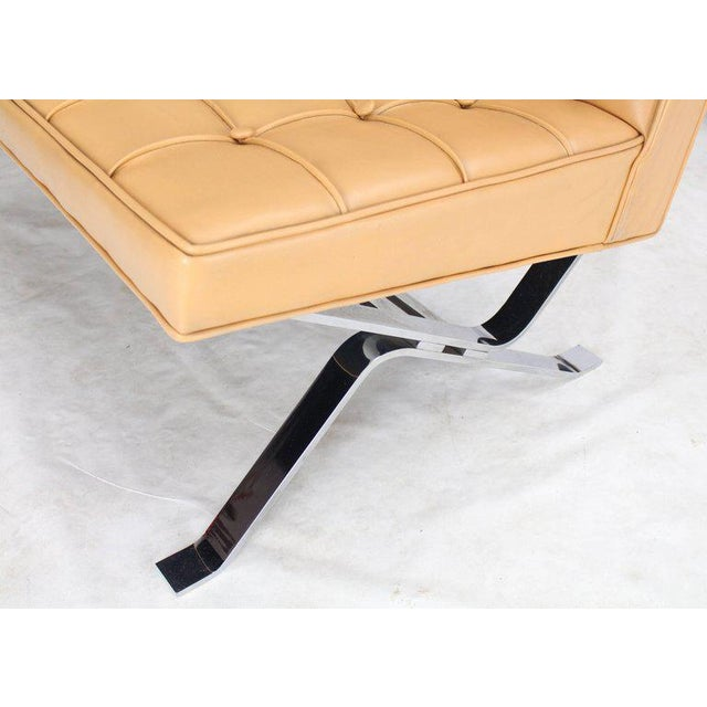 Green Mid-Century Modern Tufted Upholstery Chrome Base Settee Loveseat and Chair Set - 2 Pieces For Sale - Image 8 of 11