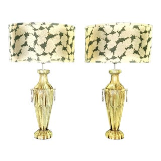 Tommi Parzinger Inspired Faux Marble Green and Gold Plaster Painted Table Lamps - Restored - a Pair For Sale