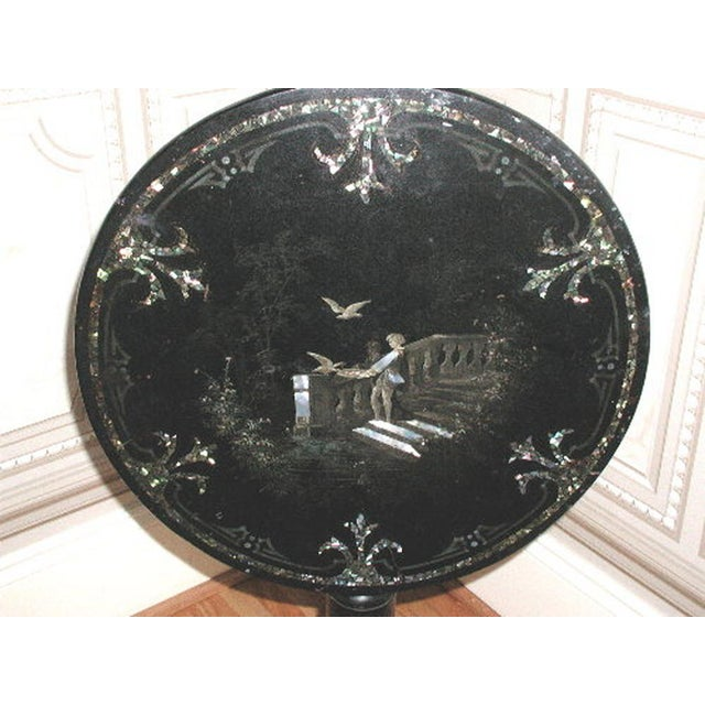 French Napoleon III Papier Mache Tilt Table Inlaid C.1850 For Sale - Image 4 of 10