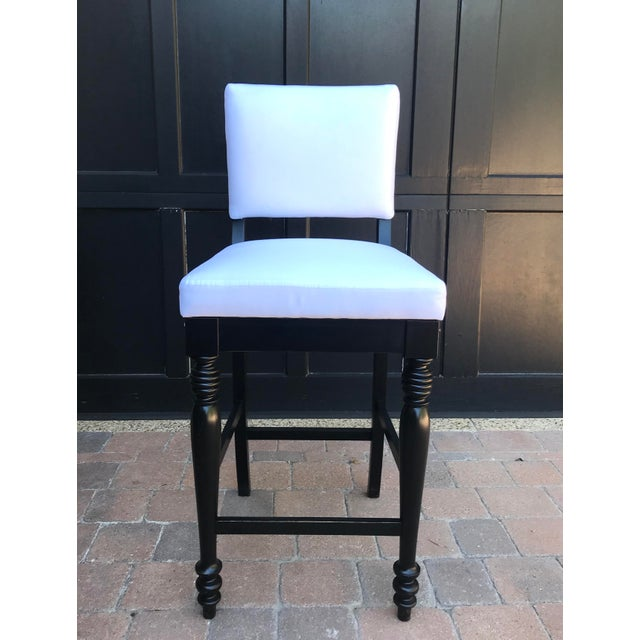 Black Oak Counterstool With Carolina Irving Patmos Stripe Reverse Slipcovers - Set of 4 For Sale In Los Angeles - Image 6 of 13