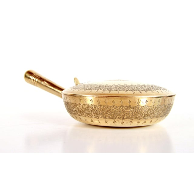 Late 19th Century Antique 19th C. Etched Brass Silent Butler / Covered Serving Dish For Sale - Image 5 of 12