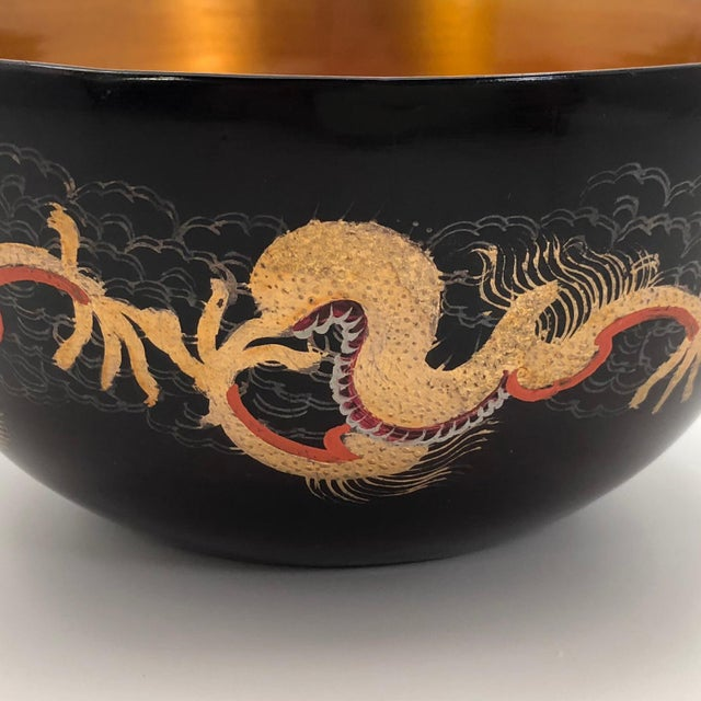 Green Chinese Foochow Goldfish and Dragon Lacquer Bowl For Sale - Image 8 of 12