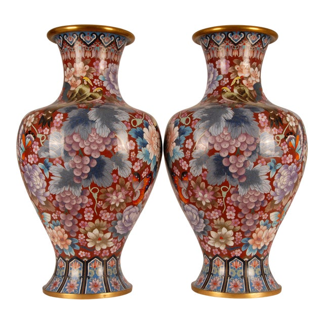 1930s Large Chinese Cloisonne Enamel Gilt Bronze Hand Crafted Baluster Vases - a Pair For Sale