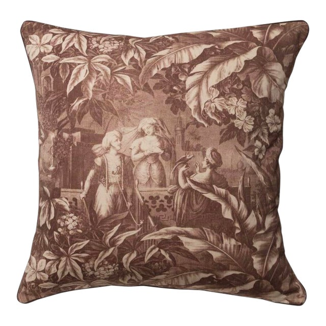 English Traditional Harem Scenes Print Pillow For Sale
