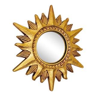 Petite Vintage Decorative Sunburst Mirror For Sale