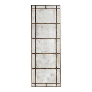 Uttermost Antique Glass Bronze Metal Floor Mirror For Sale