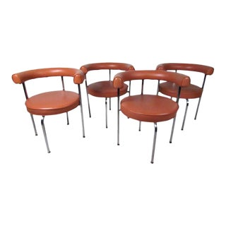 Vintage Modern Le Corbusier Style Dining Chairs - Set of 4 For Sale