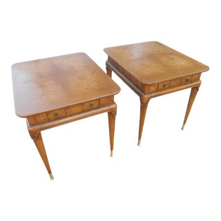 1960s Wieman Heirloom Mid-Century Burl Maple Side / End Tables - a Pair For Sale