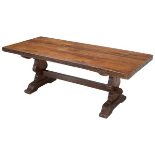 Antique French White Oak Trestle Dining Table For Sale