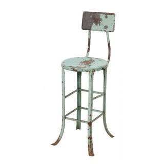Vintage Industrial Rustic Green Bar Stool For Sale