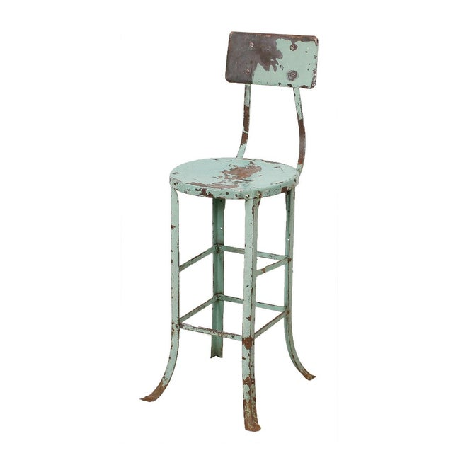 Vintage Industrial Rustic Green Bar Stool - Image 1 of 7